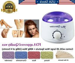 Electric Hot Wax Warmer Hair Removal Waxing Kit + 400g Hard