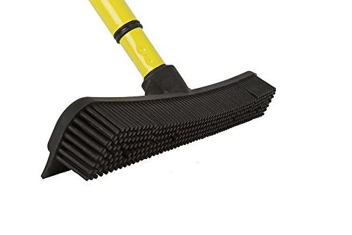 Evriholder Hair Broom Squeegee Telescoping Handle Extends 3-5', Black Yellow