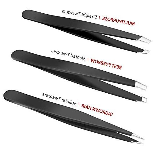 Hard Crafts Tweezers 3 Slant Flat Pointed Steel Tip with Case, Tweezers and Ingrown Remover for Both Women and