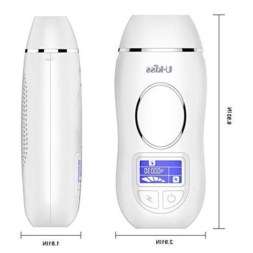 U-Kiss IPL Removal System, Flashes Permanent Painless Hair Device with 5 Settings Face Body, White