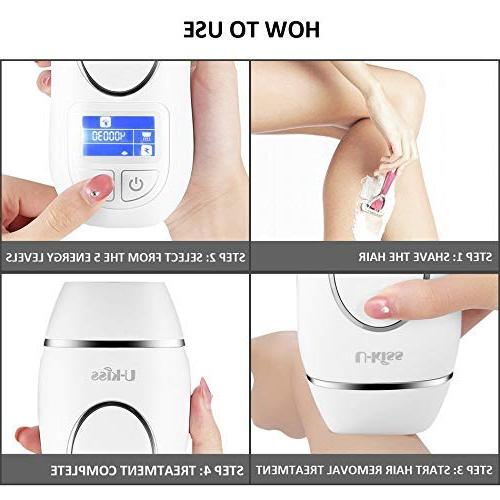 U-Kiss IPL Hair System, Permanent with LCD Display, 5 Settings Face Body, White