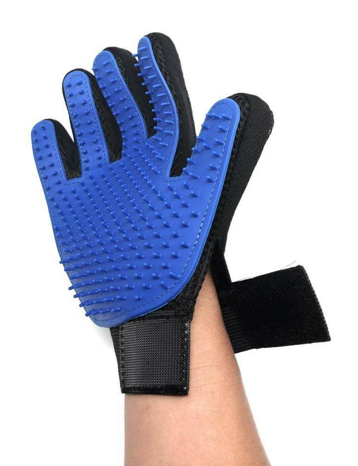 UPGRADED PAIR Grooming Gloves Brush Fur Hair Removal Massage