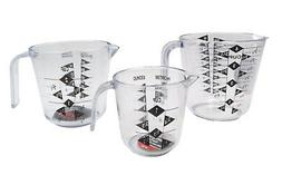NEW Chef Craft Set of 3 Plastic Measuring Cups-1 cup- 2 cup