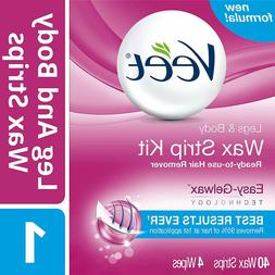 Veet Leg and Body Hair Remover Cold Wax Strips, 40 ct