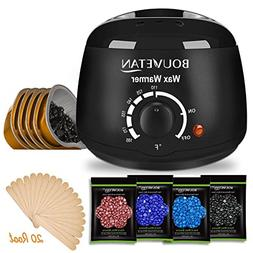 Wax Warmer - Bouvetan Waxing Hair Removal Kit with 4 Hard Wa