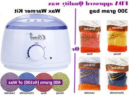 Wax Warmer Kit or Depilatory Hard Wax Beans Waxing Pellet Pa